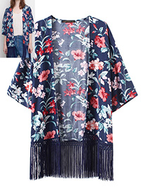 Fashion Blue Tassel Decorated Long Sleeves Kimono