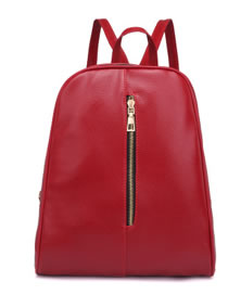 Fashion Red Pure Color Decorated High-capacity Backpack