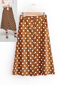 Fashion Coffee Dots Pattern Decorated Simple Skirt