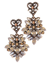 Elegant Light Yellow Diamond Decorated Hollow Out Earrings