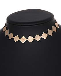 Elegant Gold Color Square Shape Design Pure Color Choker