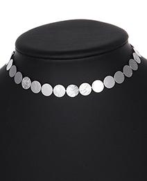 Elegant Silver Color Round Shape Design Pure Color Choker