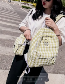 Fashion Yellow Grid Pattern Decorated Shoulder Bag (2pcs)