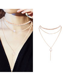 Fashion Gold Color Tassel Decorated Multi-layer Necklace