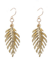 Fashion Gold Color Leaf Decorated Pure Color Earrings