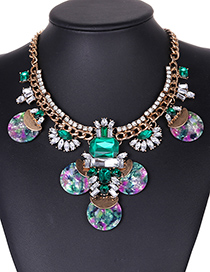 Fashion Dark Green Geometric Shape Diamond Decorated Necklace
