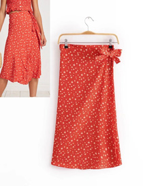 Fashion Red Flowers Decorated Simple Skirt