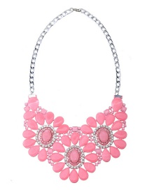 Trendy Pink Flowers Decorated Hollow Out Necklace