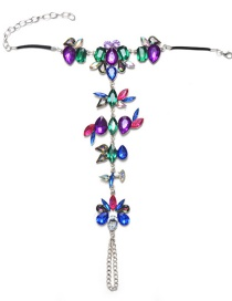 Trendy Multi-color Flower Decorated Color Matching Anklet