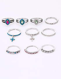 Fashion Silver Color Full Diamond Decorated Ring(10pcs)