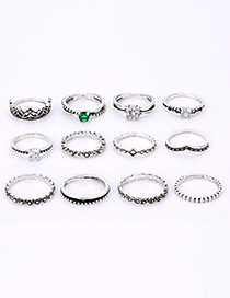 Fashion Silver Color Full Diamond Decorated Ring(12pcs)