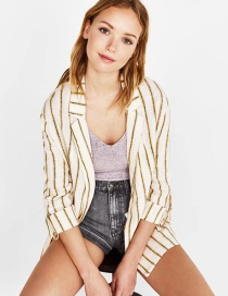 Fashion Yellow Stripe Pattern Decorated Coat