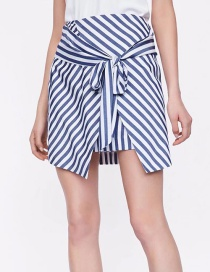 Fashion Cotton Stripe Pattern Decorated Skirt