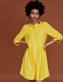 Fashion Yellow Pure Color Decorated Long Sleeves Dress