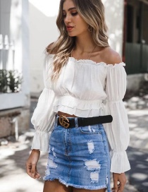 Fashion White Pure Color Decorated Long Sleeves Blouse
