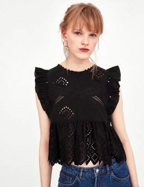 Fashion Black Hollow Out Design Pure Color Blouse