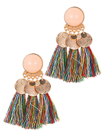 Fashion Multi-color Round Shape Decorated Tassel Earrings