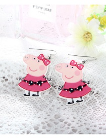 Cuty Pink Small Pig Shape Design Earrings