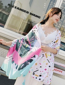 Fashion Multi-color Flower Pattern Decorated Shawl