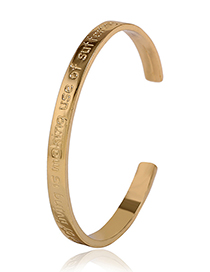 Fashion Gold Color Letter Pattern Decorated Simple Opening Bracelet