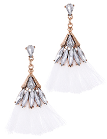 Fashion White Waterdrop Shape Decorated Tassel Earrings