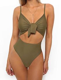 Sexy Green Bowknot Shape Decorated One-piece Swimwear
