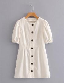 Fashion White Round Neckline Design Dress