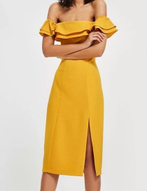 Fashion Yellow Off-the-shoulder Design Pure Color Dress