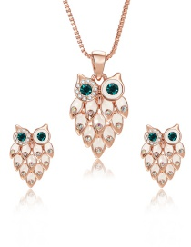 Fashion Rose Gold Owl Shape Decorated Jewelry Sets