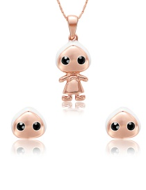 Fashion Rose Gold Doll Shape Decorated Jewelry Sets