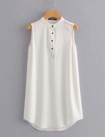 Fashion White Round Neckline Design Pure Color Blouse