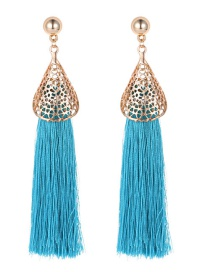 Fashion Blue Hollow Out Design Tassel Earrings