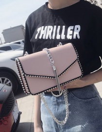 Fashion Pink Rivet Decorated Bag