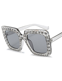 Fashion Gray Diamond Decorated Square Shape Sunglasses