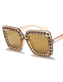 Fashion Champagne Diamond Decorated Square Shape Sunglasses