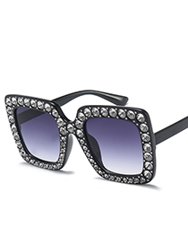 Fashion Black Diamond Decorated Square Shape Sunglasses