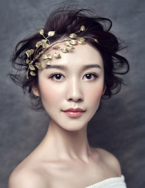 Fashion Gold Color Leaf Shape Design Hair Accessories
