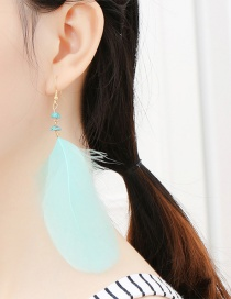 Fashion Green Feather Decorated Long Earrings