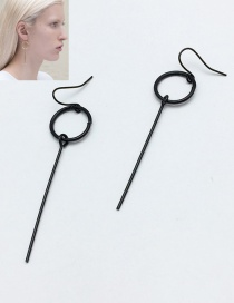 Fashion Black Circular Ring Decorated Pure Color Earrings