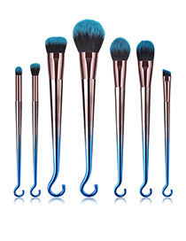 Fashion Blue+black Hook Shape Decorated Makeup Brush (7 Pcs )