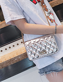 Fashion Silver Color Pure Color Decorated Shoulder Bag