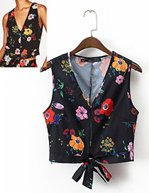Fashion Black Flower Pattern Decorated Vest