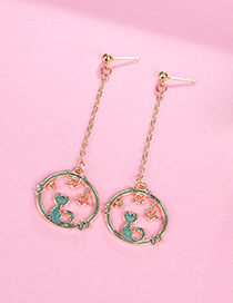 Fashion Green Cat&star Shape Decorated Earrings