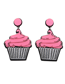 Fashion Pink Ice Cream Shape Decorated Earrings