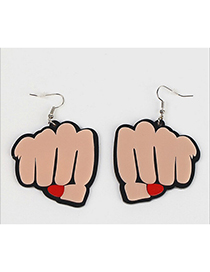 Fashion Beige Fist Shape Decorated Earrings