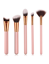Fashion Pink Sector Shape Decorated Makeup Brush (5 Pcs)