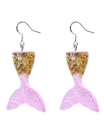 Fashion Yellow+pink Mermaid Shape Decorated Earrings