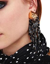 Fashion Black Leaf Shape Decorated Earrings