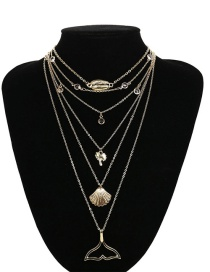Fashion Gold Color Shell Shape Decorated Necklace