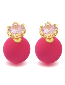 Fashion Plum Red +gold Color Diamond Decorated Earrings
